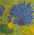 Paons jaunes et mauves 80x80 or