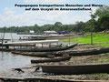 In Peque-Peque-Booten werden Menschen und Waren auf dem Ucayali transportiert. (Foto: Annette Holzapfel)