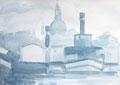 Studie für monochrome Malerei, Raddampfer vor der Frauenkirche Dresden 2, Enno Franzius