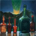 """""""Flaschengeister"""" (2016), 40 x 40 x 4 cm, Öl auf Leinwand"""