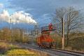 Fahrleitungsarbeiten auf der neuen Saarbahntrasse zwischen Heusweiler und Lebach am 21.02.14 bei Eiweiler