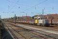 LDS 277 031 (Schweerbau GmbH & Co. KG) mit DBV 93441 Luisenthal(Saar) - Saarbrücken Rbf Nord am 24.02.14 in Saarbrücken Burbach (Sdl. Baustellenlogistik, Neuschotter in Wagen der Gattung Klmos )