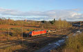 145 008 mit GM 60527 Kehl - Ehrang Nord am 16.02.14 bei Bous (Saar) , Halbzeug aus den Badischen Stahlwerken Kehl