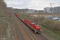 294 683 mit der Bedienfahrt zum Saarstahlwerk Burbach, bestehend aus Wagen der Gattung Rs-y und Res , am 25.02.14 in Saarbrücken