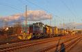 V 150.01 (275 502) der Hessische Güterbahn GmbH mit Schienenschleifzug am 17.02.14 in Einsiedlerhof