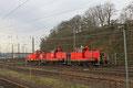 """Ein """"Flotter Dreier"""" am 18.02.14 in Saarbrücken Rbf , 363 172 + 363 113 + 363 205 kommen aus der Werkstatt und fahren zu ihrem Abstellgleis"""