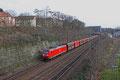 185 059 mit GM 62842 Karlsruhe Rheinbrücke Raff - Dillingen Hochofen Hütte am 17.02.14 in Saarbrücken (Sdl. Petrolkoks in Fal)