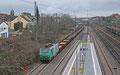 SNCF FRET BB37003 mit DGS 44454 Dillingen Hochofen Hütte- Forbach/F. am 11.02.14 in Saarbrücken Burbach, beladen mit Halbzeug für das Grobblechwalzwerk Dünkirchen (Dillinger France).