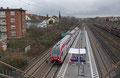 """Stadler KISS Doppelstocktriebzug für die luxemburgische Staatsbahn am """"neuen"""" Bahnsteig in Saarbrücken-Burbach, CFL 2303 als DbZ-D 95428 Trier Hbf - Saarbrücken Hbf (Türkismühle) am 11.02.14 , Besteller war die Erfurter Bahn (Sonderleistung)"""