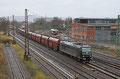 MRCE 185 547 (im Einsatz für NIAG) mit DGS 95131 Düsseldorf-Bilk - Ensdorf (Saar), Zug ist beladen mit Importkohle und wird je nach Bedarf zu den Kraftenwerken Göttelborn oder Fürstenhausen gefahren , Dillingen (Saar) am 08.02.14