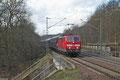 """181 214 """"Mosel"""" mit GA 98801 Forbach/F - Mannheim Rbf Gr.K am 21.02.14 kurz hinter der Systemtrennstelle in Saarbrücken (Sdl.PKW ex. 49237 vom 20.02.14)"""