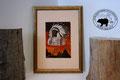 Glasbild: Indianerhäuptling mit Wigwam