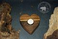 Holz Herzkerzenständer aus  dunklem Nussbaumholz
