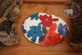 Traubenkernkissen grosser Saphir | Oval | Farben: verschiedene Blautöne, Weiss, Rot, Bordorot