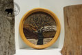 Lederbild: Kirschbaum im Herbst
