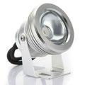 10 Watt, 12 V, RGB - LED, IP 68, wasserdicht, steuerbar über DMX - der gleiche Spot auch NUR in warm weiß