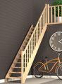Savoie escalier droit rampe moulurée et garde-corps étage