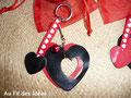 """Porte-clef & pochette assortie """"Amour toujours"""" (cuir et perles) - Créations janv 2011"""