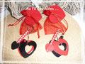 """Porte-clefs & pochettes assorties """"Amour toujours"""" (cuir et perles) - Créations janv 2011"""