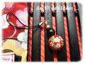 """Bijou de portable """"Esprit Japonais"""" rouge traditionnel - Création Juillet 2011"""