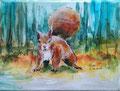 """""""Een eekhoorn"""" 2018, acryl en inkt op linnen, 18x24cm, prijs 100,00"""