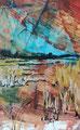 """""""Het waterriet"""", acryl en inkt op papier, 8x13cm, VERKOCHT"""