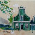 """""""Eerste ah winkeltje"""" 2017, acryl en inkt op canvas, 30x30cm, prijs 120,00e"""