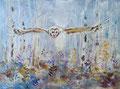 Uil, acryl en inkt op canvas, 30x40cm, prijs 250,00e