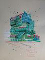 """""""Inntel Hotel Zaandam"""" 2017, inkt op papier, 30x42cm  VERKOCHT"""