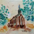"""""""Hervormde kerk Krommeniedijk"""" 2017, acryl en inkt op canvas, 30x30cm, prijs 120,00e"""