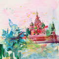 Moscou, acryl en inkt op schildersdoek, 90x90cm, prijs 1500,00e (incl. lijst)