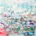 Reykyavik, acryl en inkt op schildersdoek, 90x90cm, prijs 1500,00e (incl. lijst)