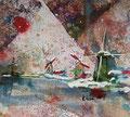 """""""Zaanse Schans"""", acryl en inkt op papier, 14x12.3cm, VERKOCHT"""
