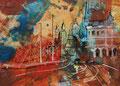 """""""Amsterdam"""", acryl en inkt op papier, 21x15cm, prijs 140,00e (incl. passe-partout)"""