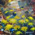 """""""De paardebloemen"""", acryl en inkt op papier, 18x18cm, prijs 40,00e (incl. passe-partout)"""