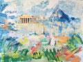 Athene, acryl en inkt op schildersdoek, 90x120cm, prijs 1700,00e (incl. lijst)