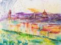 Florence, acryl en inkt op schildersdoek, 90x120cm, prijs 1700,00e (incl. lijst)