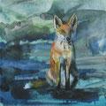 """""""De stadvos"""", acryl en inkt op canvas, 20x20cm VERKOCHT"""