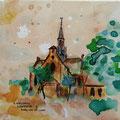 """Kogerkerk"" 2017, acryl en inkt op canvas, 30x30cm VERKOCHT"