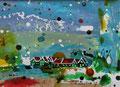 """""""In de Zaanstreek"""" 2017, acryl en inkt op papier,  14,5x10,7cm NIET BESCHIKBAAR"""