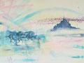 Mont St. Michel, acryl en inkt op schildersdoek, 90x120cm, prijs 1700,00e (incl. lijst)