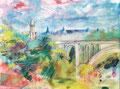 Luxemburg, acryl en inkt op schildersdoek, 90x120cm, prijs 1700,00e (incl. lijst)