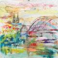 Keulen, acryl en inkt op schildersdoek, 90x90cm, prijs 1500,00e (incl. lijst)