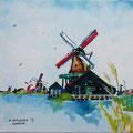 """""""Zaanse molens"""" 2017, acryl en inkt op canvas, 20x20cm VERKOCHT"""