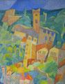 La torre guardiana | olio su tela | 19x24,3 cm