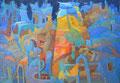 Città aperta ai colori | olio su tela | 19,8x28,5 cm