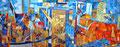Città ferita | tessere di olio su tela | 35x99 cm