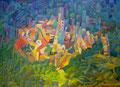 Piano con quelle case | olio su tela | 45x60 cm