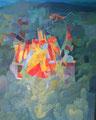 Gli spiritelli del bosco giocano con l'aquilone | olio su tela | 80x70 cm