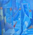 Scala di azzurri | olio su tela | 18,5x17,2 cm
